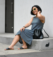 mimi & chichi blog,blogger,dress,shoes,bag,sunglasses,midi dress,striped dress,bucket bag,black bag,sandals,slide shoes,summer outfits