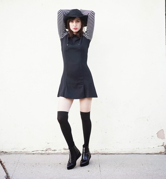 a fashion nerd blogger long sleeve dress school girl knee high boots floppy hat
