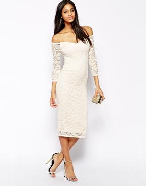 ASOS | ASOS Off The Shoulder Midi Lace Bodycon Dress at ASOS