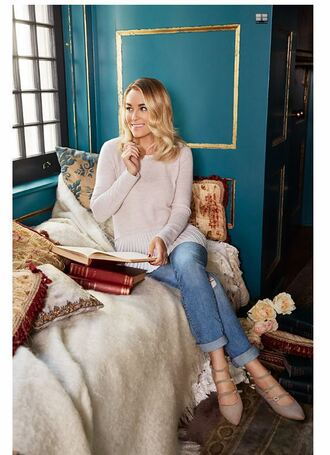 sweater jeans flats ballet flats blogger lauren conrad shoes