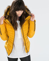 jacket,zara,doudoune,jaune,anorak,anorak jacket,zara jacket,bomber jacket,mustard,hipster,coat,zara hood yellow fur jacket coat