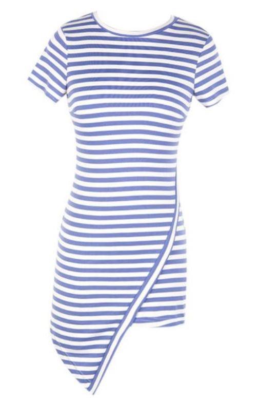 Blue stripe asymmetric bodycon dress