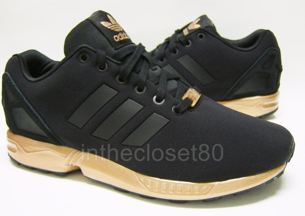 f9eefdf67 Adidas ZX Flux Black Metallic Copper Womens Trainers S79877