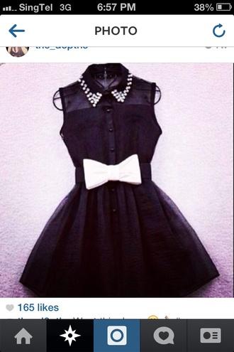 black black and white collar dress black and white dress ribbon dress black dress