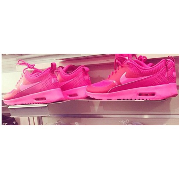 shoes pink nike nike air max thea neon