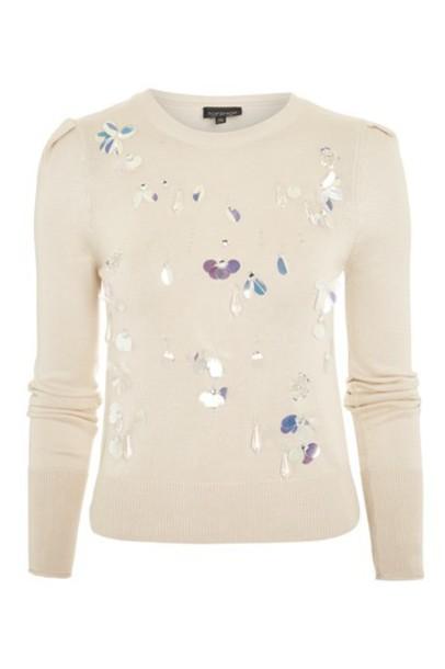 Topshop jumper embellished nude sweater