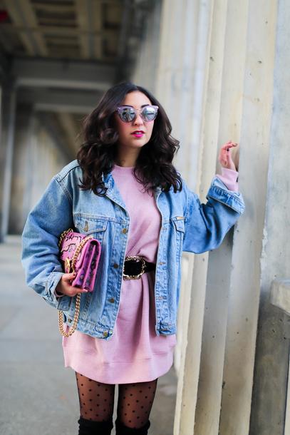 samieze blogger sweater dress jacket bag belt sunglasses jewels denim jacket sweater dress pink dress pink bag boots