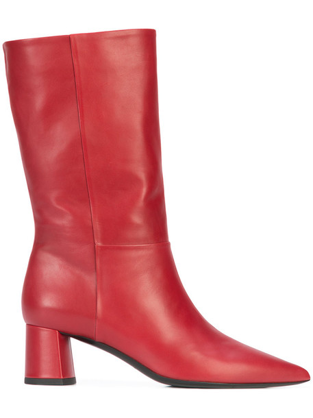DEIMILLE high women ankle boots leather red shoes