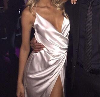 dress silk silk dress metallic metallic dress prom dress prom gown v neck dress wrap dress silver dress