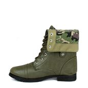 shoes,camouflage,boots,combat boots,cuff boots,army green,folded combat boots