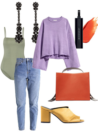 teetharejade blogger jewels sweater make-up jeans bag bodysuit mom jeans mules spring outfits