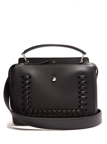 09922c291b6f FENDI Dotcom whipstitch leather bag in black - Wheretoget
