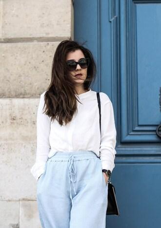 elodie in paris blogger jacket top pants shoes sunglasses bag