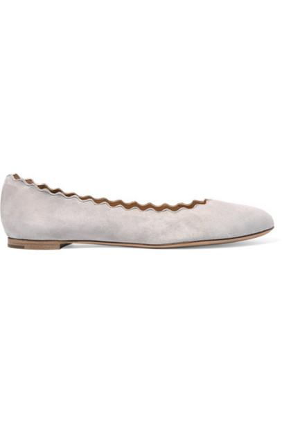 Chloé Chloé - Lauren Scalloped Suede Ballet Flats - Stone
