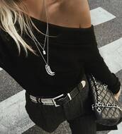 top,tumblr,black top,long sleeves,necklace,silver necklace,belt,black belt,bag,off the shoulder,horn pendant,jewels,jewelry,layered,silver jewelry,tusk,horn,horn necklace,pants,grey pants,black bag