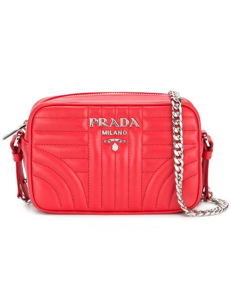 Prada cross women bag leather red