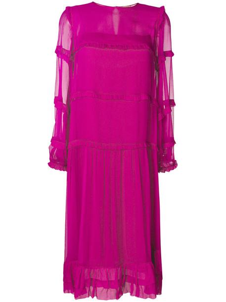 No21 dress midi dress women midi silk purple pink