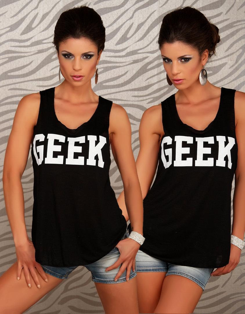 Stylisches trendy tanktop shirt nerd geek schwarz/weiß print letter