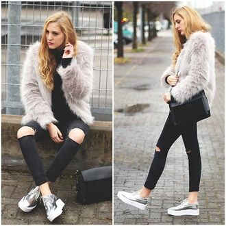 shoes lookbook blogger ripped jeans winter outfits silver creepers platform shoes zaful