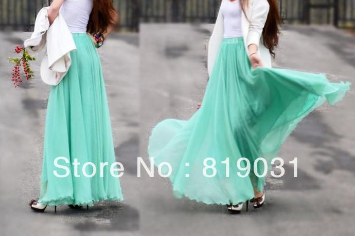 2013 Summer New Fashion Women Ultralager Expansion Hems Chiffon Ruffle Bust Full Long Skirt ,mint green  dress-in Skirts from Apparel & Accessories on Aliexpress.com