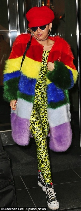 coat miley cyrus rainbow faux fur coat fur coat oversized outerwear winter outfits 2015 rainbow coat faux fur faux fur coat miley cyrus coat