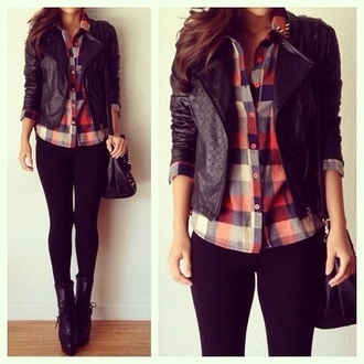 jacket blouse pants shoes shirt leather jacket love this style flannel flannel shirt black black jacket texture black leather jacket