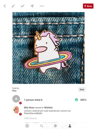 home accessory unicorn unicorn pin rainbow cute rainbow pin