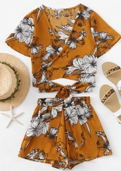 romper,girly,two-piece,matching set,crop tops,crop,cropped,floral,print