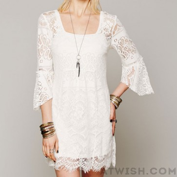 Sweet floral irregular sleeve lace dresses from womens dresses