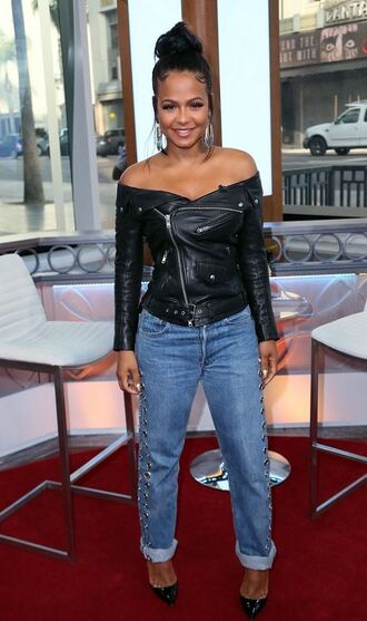 jacket biker jacket jeans christina milian pumps fall outfits off the shoulder off the shoulder jacket black motorcycle jacket leather motorcycle jacket vue boutique