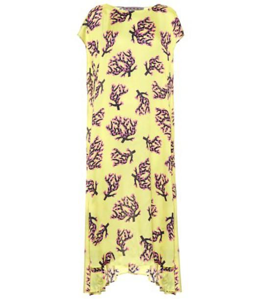 Marni Asymmetric printed midi dress in yellow