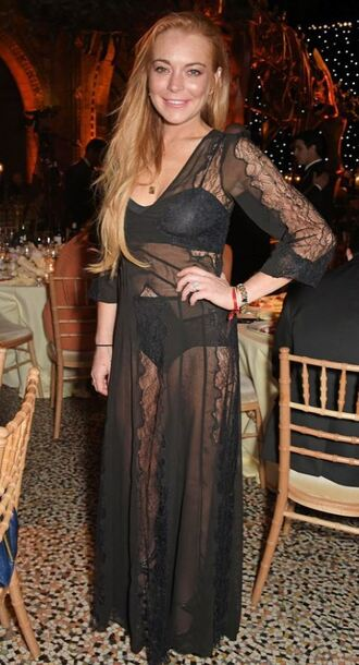 dress sheer black dress lindsay lohan black underwear bra