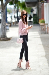 vogue haus,blogger,shoes,bag,sunglasses,jewels,pink sweater,pink bag,pink,black jeans,high waisted jeans,thick heel,lace up heels,sweater,pink top,long sleeves