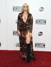 dress,bebe rexha,American Music Awards,animal print,wrap dress,plunge dress