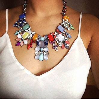 white tank top jewels necklace top pearl colorful plastron strass white top white tank top