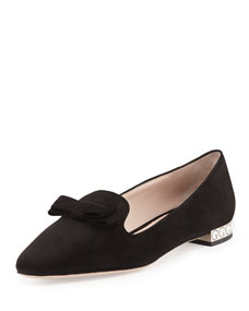 Suede Crystal-Heel Bow Loafer, Nero