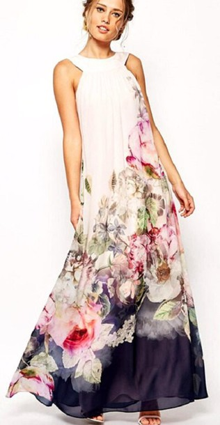 f8b341b143 dress white floral floral dress maxi dress long dress beach dress party  dress summer dress sleeveless