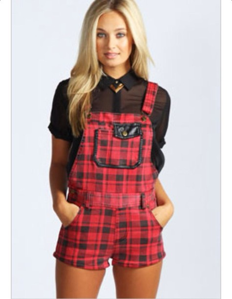 Shorts: dungarees, flannel - Wheretoget