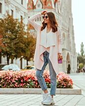 shoes,sneakers,platform sneakers,jeans,high waisted jeans,cardigan,white blouse,sunglasses,shoulder bag
