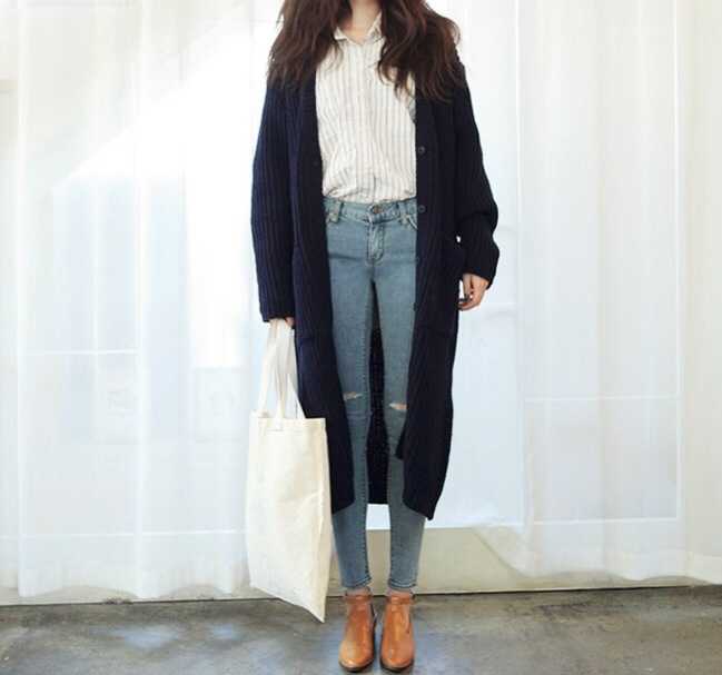 Double pocket knit coat long cardigan