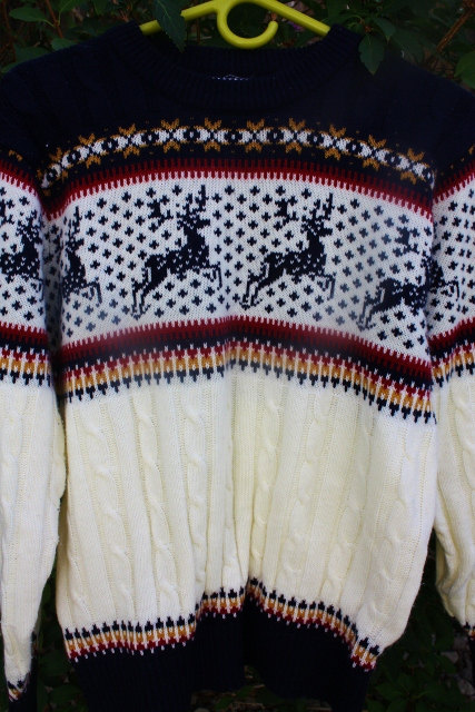 1980's Ugly Sweater Men's Ivory Navy REd Gold by Retromomo on Etsy