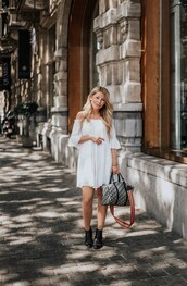 dress,white dress,black boots,bag,mini dress,white