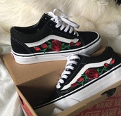 shoes,patch,vans,black vans roses,black shoes,roses,black,rose,flowers,embroidered,old skool,old school,snickers,floral shoes,printed vans,sneakers,floral,skateboard,cute,red
