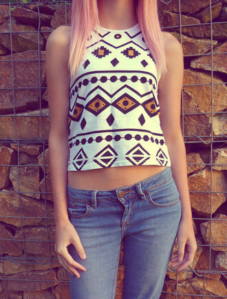 blouse boho shirt indian design white t-shirt ombre hair sweet summer top native american