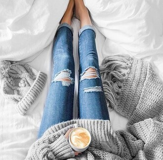 sweater jeans grey scarf hat ripped jeans blue jeans boyfriend jeans grey sweater grey scarf grey hat knit hats knitwear knitted scarf blanket scarf oversized sweater coffee cozy fall outfits fall accessories grey beanie