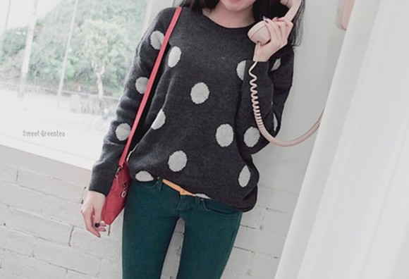 polka dots top cute sweater cute stuff