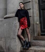 skirt,tumblr,red skirt,mini skirt,tights,wrap skirt,asymmetrical,asymmetrical skirt,sweater,black sweater,boots,flat boots,black boots,le fashion image,blogger,shoes
