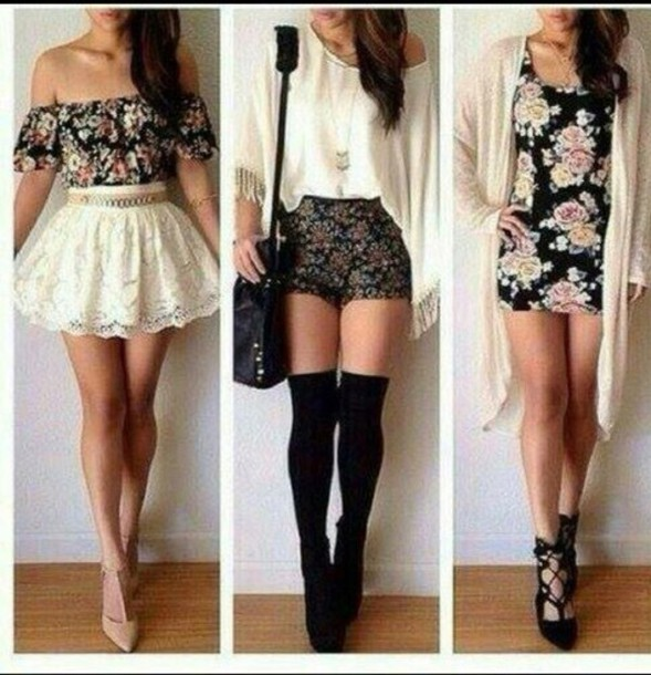 shirt belt skirt shoes sweater shorts socks cardigan dress