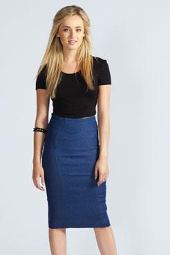 High Waisted Denim Midi Skirt at boohoo.com
