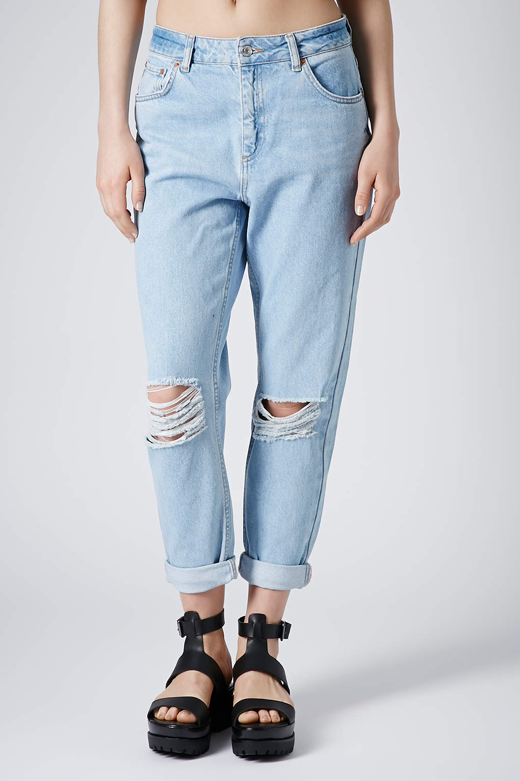 Moto Ripped Blue Wash Mom Jeans Topshop